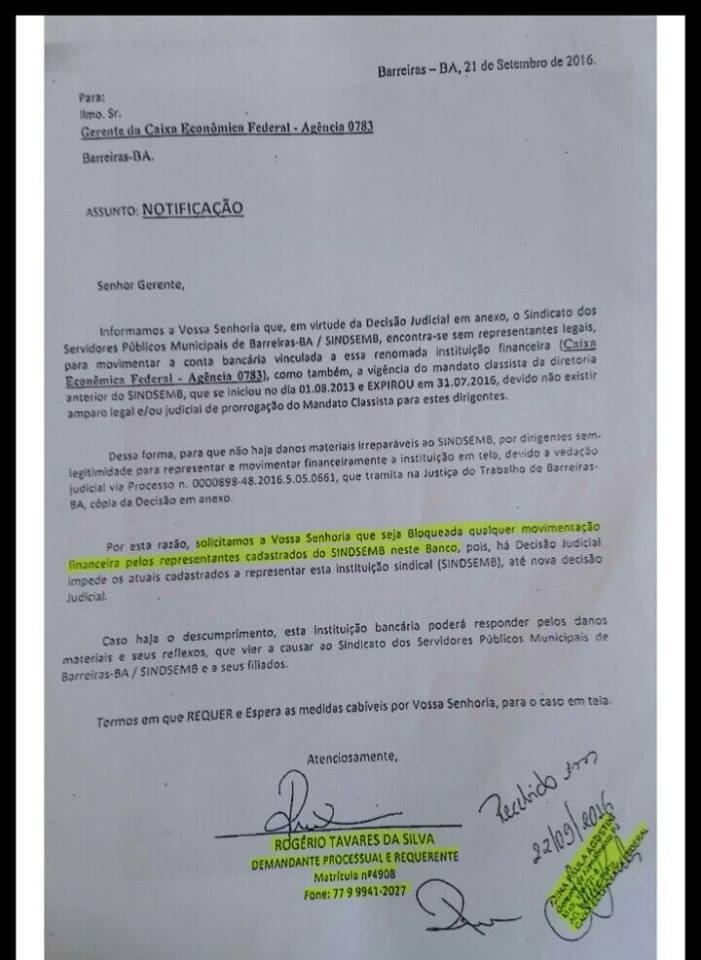 ANDAMENTO DO PROCESSO DA CEF QUE BLOQUEOU AS CONTAS DO SINDSEMB