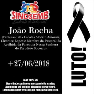 NOTA DE PESAR PELO FALECIMENTO DO PROFº JOÃO ROCHA