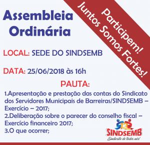 Assembleia Ordinária – 25/06/2018 às 16h