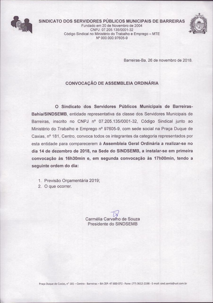 Edital de Convocação Assembleia Ordinária 14/12/2018