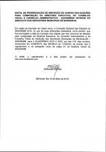 EDITAL DE PRORROGAÇÃO DE INSCRIÇÃO DE CHAPAS DAS ELEIÇÕES