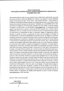 EDITAL DE CONVOCAÇÃO PARA ELEIÇÃO DA DIRETORIA EXECUTIVA, CONSELHO ADMINISTRATIVO E CONSELHO FISCAL. QUADRIÊNIO 2019 A 2023.