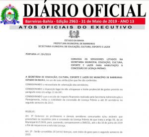 Secretaria de Educação convoca servidores concursados para habilitação à concessão de licença prêmio.