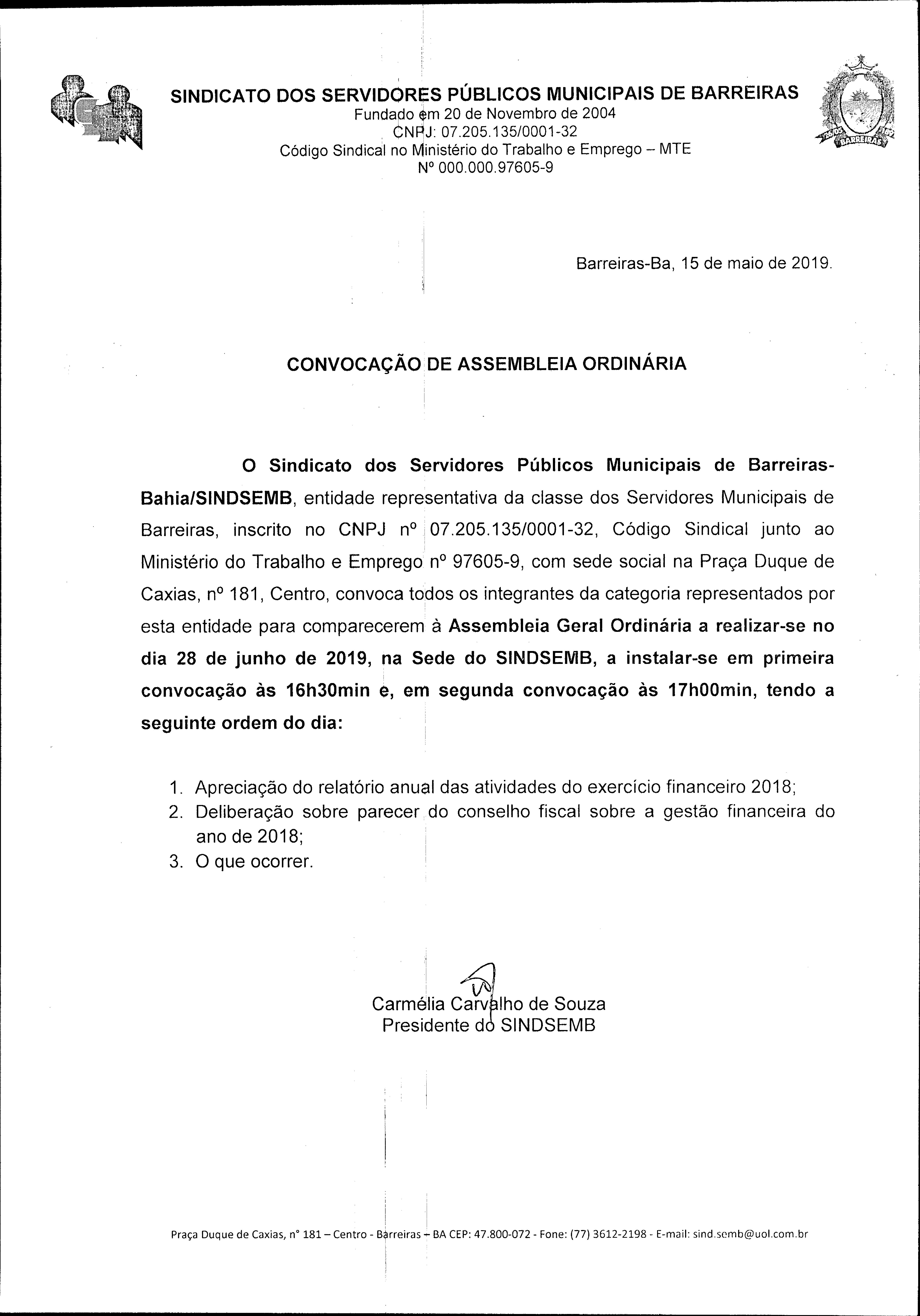 EDITAL DE CONVOCAÇÃO DE ASSEMBLEIA ORDINÁRIA