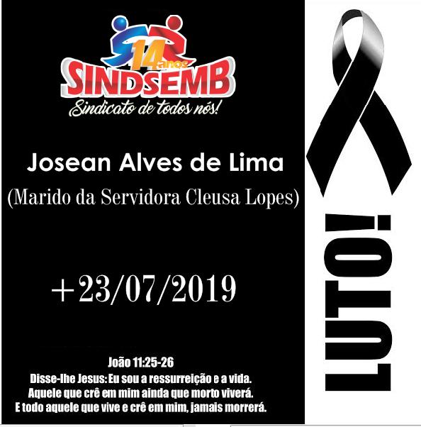 NOTA DE PESAR PELO FALECIMENTO DE JOSEAN ALVES DE LIMA, MARIDO DA SERVIDORA CLEUSA LOPES DE SOUZA