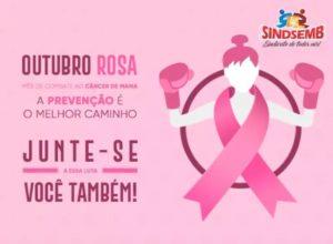 Outubro Rosa no Sindsemb: Presidente Carmélia da Mata incentiva campanha de prevenção ao câncer de mama